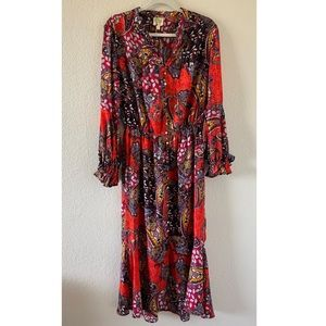 Anthropologie Fig & Flower Boho Paisley Midi Dress